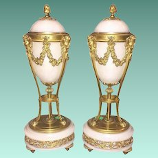 Magnificent Antique French Marble and Bronze Urns. ~ Elegant White Marble and Beautiful Gilt Bronze ~ Reversible  Covers/Tops Converting To Candlesticks