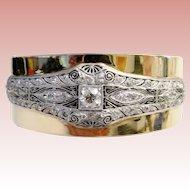 Glorious Diamond Platinum and 14K Bangle Bracelet
