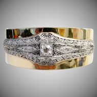 Glorious Diamond Platinum and 14K Bangle Bracelet