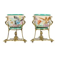 PAIR Old Paris Cache Pots wGilt Ormolu Stands ~ Charming Birds and Flowers ~  Ornate Gilt Bronze Figural Stand