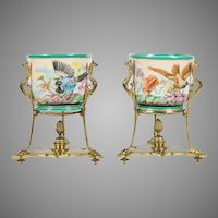 PAIR Old Paris Cache Pots wGilt Ormolu Stands ~ Charming Birds and Flowers ~  Ornate Gilt Bronze Figural Stand