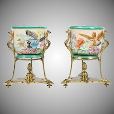 Pretty Antique Old Paris Cache Pots in Gilt Ormolu Stands ~ Fabulous Birds and Flowers in an Ornate Gilt Bronze Figural Stand