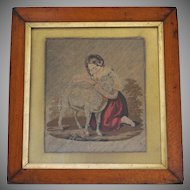 Antique Framed Petit Point Panel with Girl and Lamb ~ Original Period Frame.