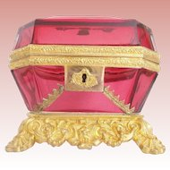 "Antique Baccarat Cranberry Bronze Casket Hinged Box ~ ""THE BEST""  ~The GRANDEST Bronze Mounts and Base ~ Rare and Very Fine and Absolutely A French Masterpiece"