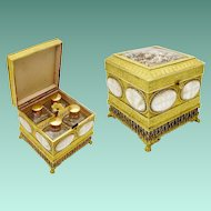 1880 Gilt Bronze Mother of Pearl Scent Casket ~ Exquisite  Dome  Glass Top Covering The Grandest Tiny Miniature Dried Flowers ~ Paw Feet and SIX Mother of Pearl Plaques