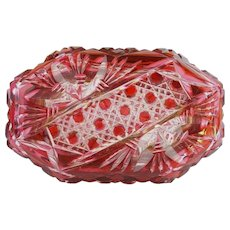 """Antique Bohemian Red Cut to Clear Box Casket """"RARE & BEAUTIFUL OVAL SHAPE"""" Beautiful Ornate Mounts ~ An Exquisite Bohemian Red Cut to Clear Casket Hinged Box from My Treasure Vault"""