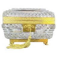 """Exquisite Antique Baccarat Crystal Casket Hinged Box """"'PAW FEET & RARE CUT"""