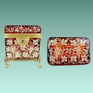"""1860 Moser Casket Hinged Box  ~ Stunning Double Handle """"EXQUISITE  RUBY GLASS"""""""
