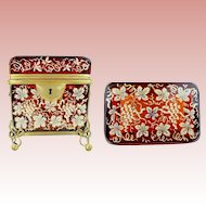 """Antique Moser Casket Hinged Box with Double Handle """" MAGNIFICENT RUBY GLASS"""""""