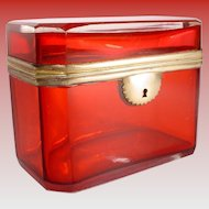 "Antique Bohemian Red Casket Hinged Box ""Very Fine Red Case Glass"" A BEAUTY from My Treasure Vault"