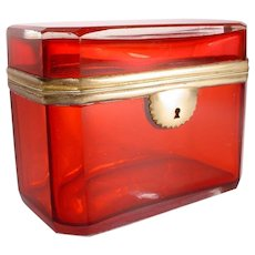 """Antique Bohemian Red Casket Hinged Box """"Very Fine Red Case Glass"""" A BEAUTY from My Treasure Vault"""
