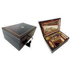 "Stunning Antique Ebony Sewing Box Etui '5 PIECE GILT ETUI"""