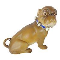 "Giant 16""Antique German Pug   ""BRIGHT BLUE BOW"""