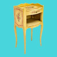 "Antique Italian Painted Cabinet Table "" Adorable Polychrome Flowers"