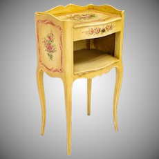 """Antique Italian Painted Cabinet Table """" Adorable Polychrome Flowers """" CHARMING"""