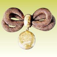 "Victorian Woven Hair Brooch w14KARAT "" Engraved Yellow Gold Band &  Hair"""