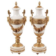 LAYAWAY Grandest  Antique French Ormolu Mounted White Marble Urns