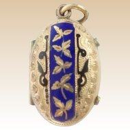 Antique Yellow Gold Filled Enamel Locket with Exquisite Engraving