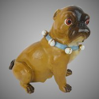 "Antique Conte & Boehm Pug ""Blue Collar & Bells"""