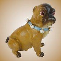 "Antique Conte & Boehm Pug ""Blue Collar & Bells"""