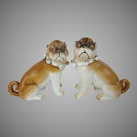"6"" Antique PUGS from Conte & Boehm ""Sassy Collars & Bells"" ~ YES A PAIR"
