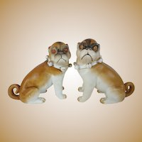 """6"""" Antique PUGS from Conte & Boehm """"Sassy Collars & Bells"""" ~ YES A PAIR"""