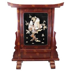 Antique Finely Carved Meiji Period Japanese Lacquer Ware  Screen