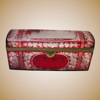 """Glorious Antique  9 ½"""" Bohemian Ruby Spa Glove Box  ~ The BEST!  ~ It is  FABULOUS!"""
