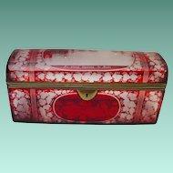 "Antique  9 ½"" Bohemian Ruby Spa Glove Box  ""BIG & GRANDEST"""