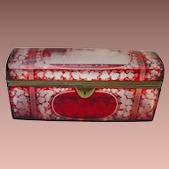 "Antique  9 ½"" Bohemian Ruby Spa Glove Box  ""BIG & GRANDEST"""