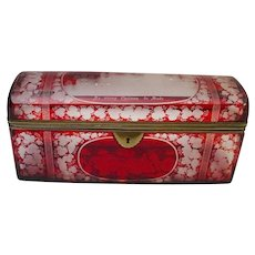 "Antique  9 ½"" Bohemian Ruby Spa Glove Box"