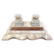 """Magnificent  Mother of Pearl Double Inkwell W Two Cut Glass Inkwell w Gilt MountsTops """"Big & BEAUTIFUL"""""""