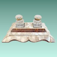 """Grandest Mother of Pearl Double Inkwell W Two Cut Glass Inkwell w Gilt MountsTops """"Big & BEAUTIFUL"""""""