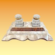 "Grandest Mother of Pearl Double Inkwell W Two Cut Glass Inkwell w Gilt MountsTops ""Big & BEAUTIFUL"""