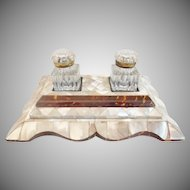 "Magnificent  Mother of Pearl Double Inkwell W Two Cut Glass Inkwell w Gilt MountsTops ""Big & BEAUTIFUL"""