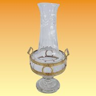 "Exquisite 16"" Antique French Cut Crystal and Gilt Ormolu Double Handle ""Empire Style"" Vase"