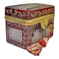 "Antique Bohemian Cranberry Cut to Clear Spa Hinged Box  ""RARE & WONDERFUL"""