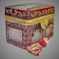 "Antique Bohemian Cranberry Cut to Clear Spa Hinged Box  ""RARE & WONDERFUL"""