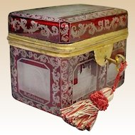 Extraordinary Antique Bohemian Cranberry Cut to Clear Spa Hinged Box