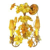 Spectacular CZECH Five Light Jeweled Flower Chandelier