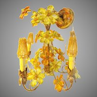 Spectacular CZECH Five Light Jeweled Flower Chandelier