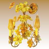 Spectacular Five Light Jeweled Flower Chandelier