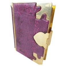 "Estate Vintage Judith Leiber Purple Snakeskin Minaudiere ""AWESOME & RARE"""