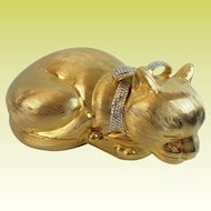 Judith Leiber Cat Minaudiere with a  Big Crystal Bow