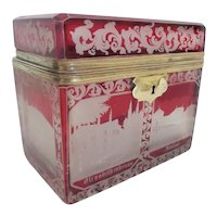 Antique Bohemian Cranberry Flash Cut to Clear Spa Casket Hinged Box