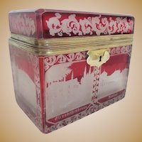 Antique Bohemian Cranberry Flash Cut to Clear Spa Casket Hinged Box ~ A MAJESTY SPA BOX