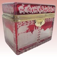 Majestic Antique Bohemian Cranberry Flash Cut to Clear Spa Casket Hinged Box