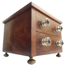 """Antique Mahogany Miniature 2 Drawer Footed Chest """"GLASS PULLS"""""""