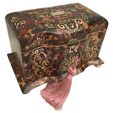Magnificent 1850 Faux Tortoise and Abalone Double Tea Caddy ~ Stunning, Shape, and Condition