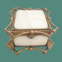 BIG Antique Alabaster and Bronze Casket Hinged Box.~  Five Beveled Alabaster Plaques